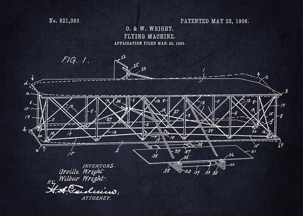 Wright brothers plane patent art print project cottage wright brothers wall print flying machine art print malvernweather Choice Image