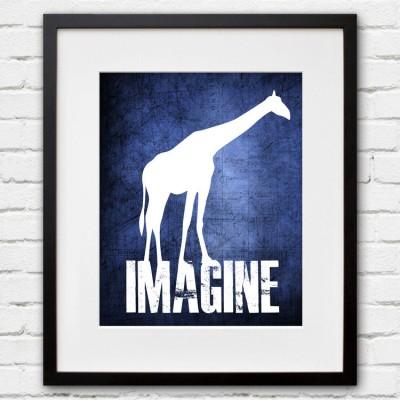 giraffe blue print
