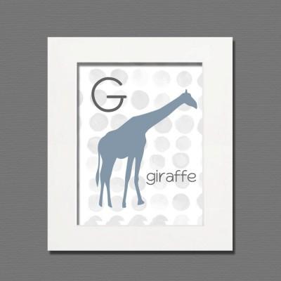 giraffe white frame art