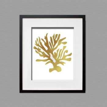 Gold Leaf Coral Art Print