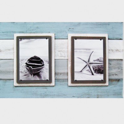 gray and white plank frame