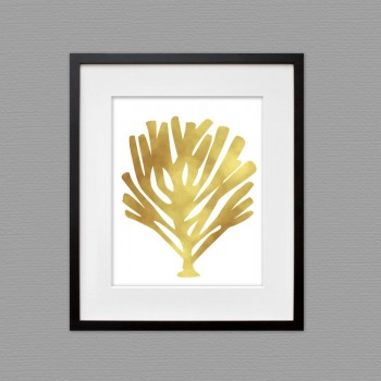 leaf gold wall art