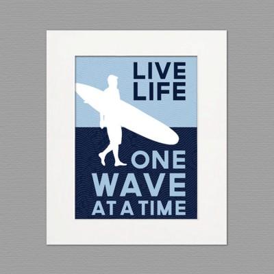 live life white frame art