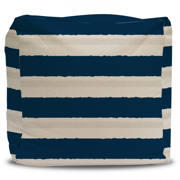 Navy Blue Stripe Pouf Ottoman