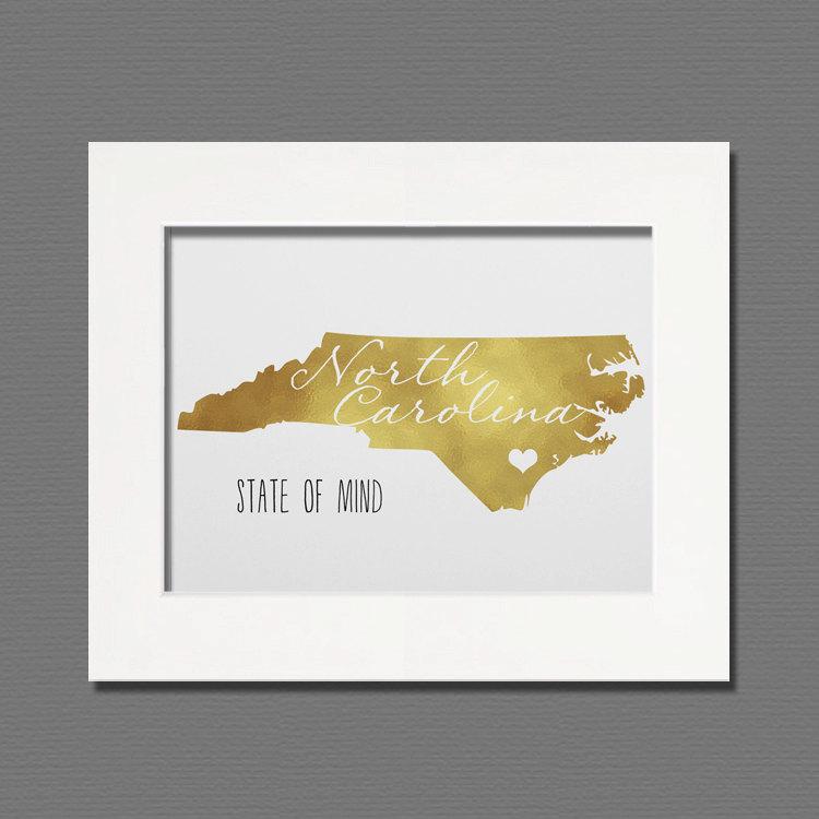 North Carolina Gold Foil Wall Art