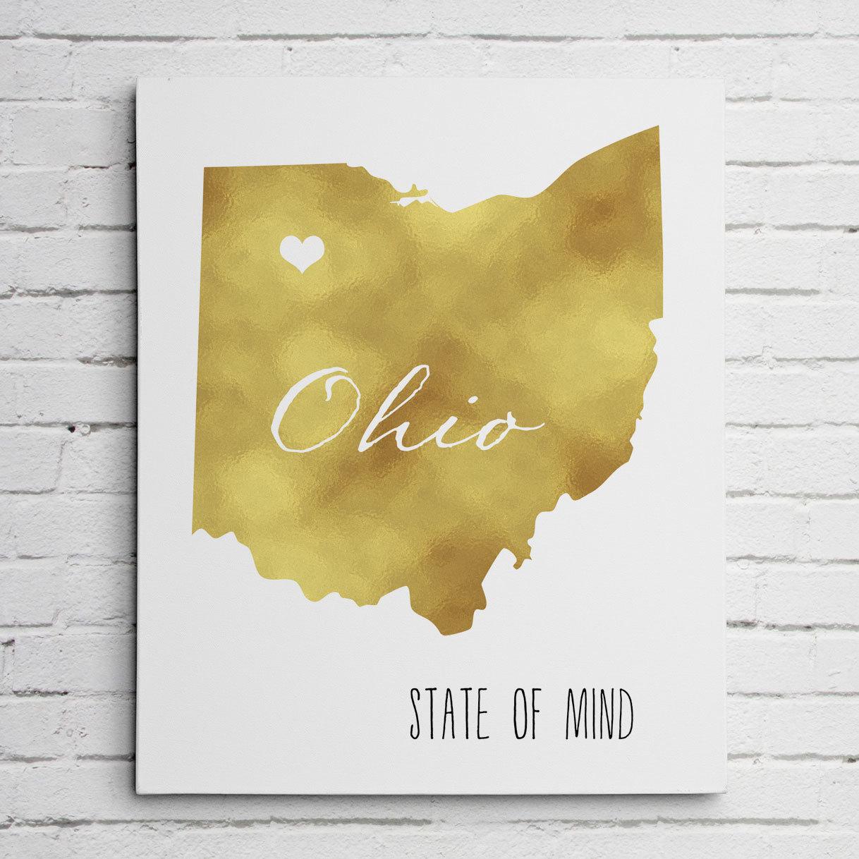 Ohio Gold Foil Wall Art