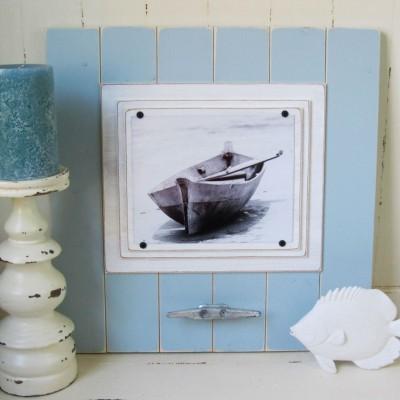 pale blue wooden frame