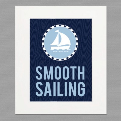 sailing white frame art