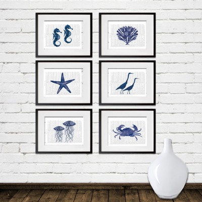 sea creatures watercolor print set