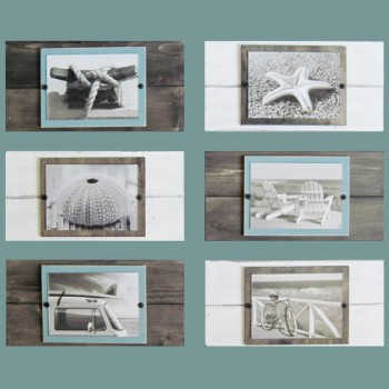 set of 6 white and driftwood plank frames for 57 pictures