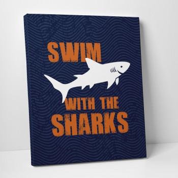 shark navy canvas art