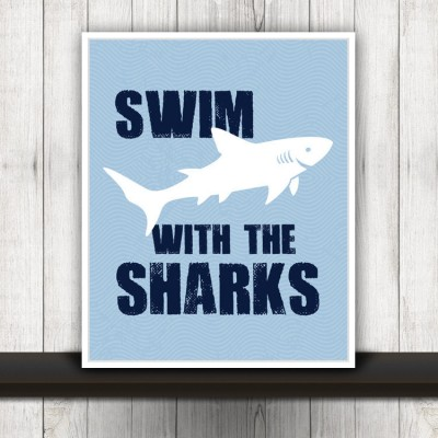 sharks beach print