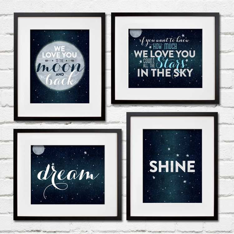 I Love You To The Moon And Back Wall Art love you to the moon and back nursery decor print- project cottage