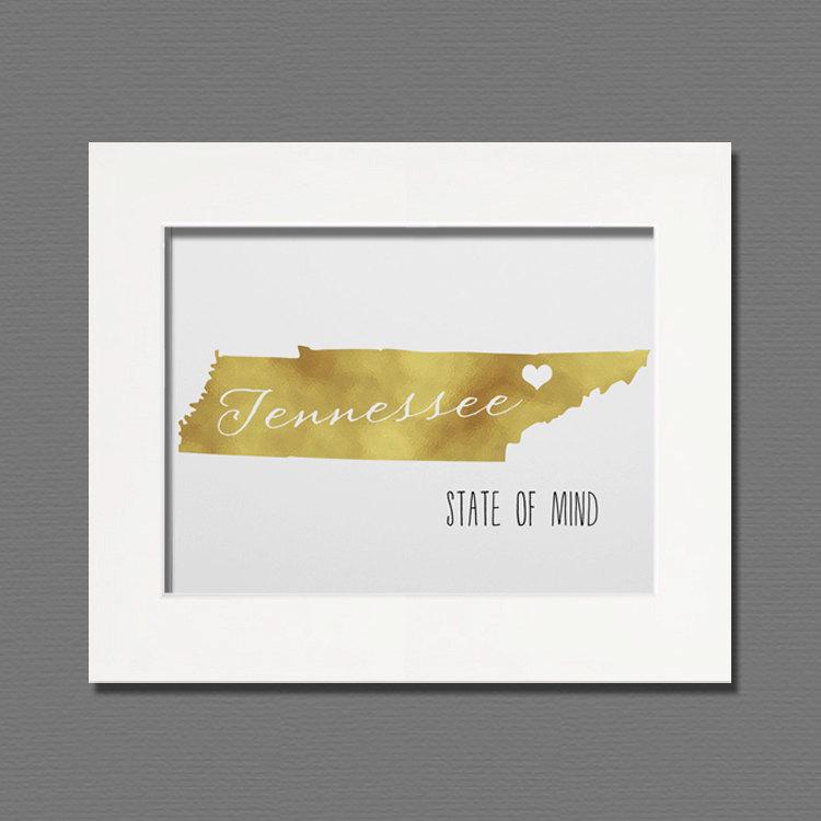 Tennessee Gold Foil Wall Art