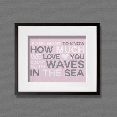 waves pink wall art