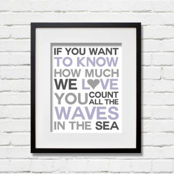 waves purple print