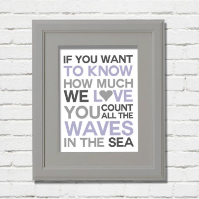 waves purple print grey frame