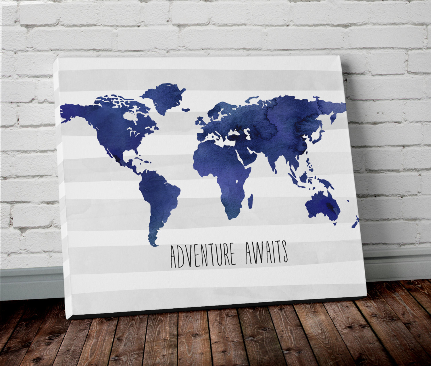 Watercolor world map wall art in blue project cottage world map canvas art gumiabroncs Images