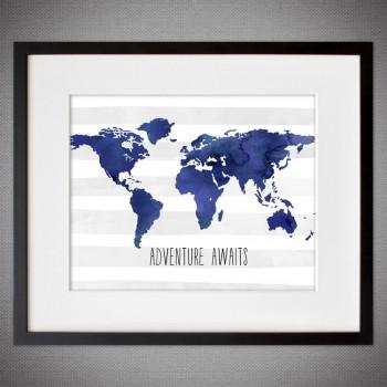 world map framed wall art