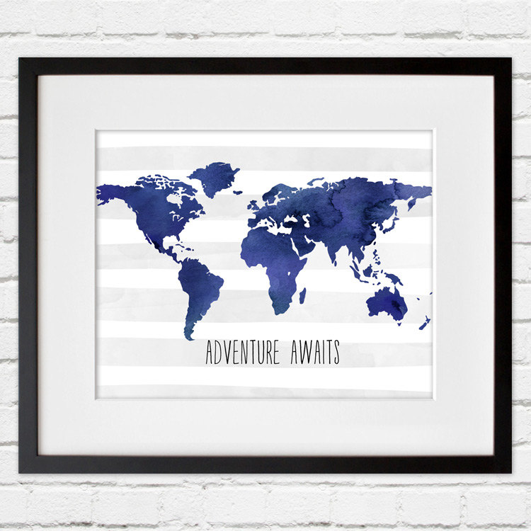 world map framed wall art in blue