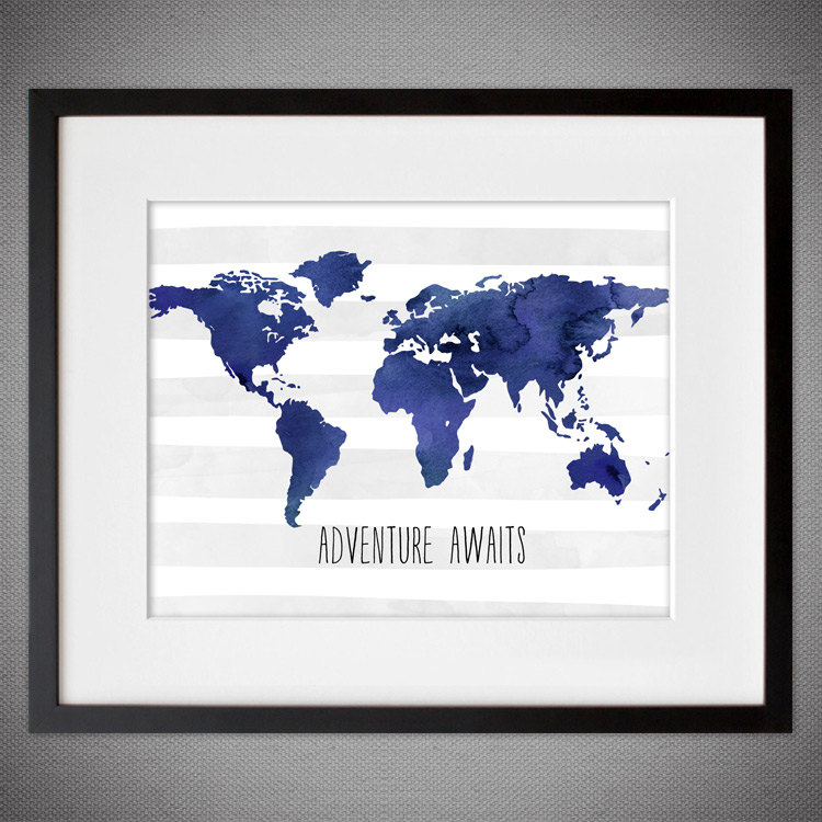 Watercolor world map wall art in blue project cottage world map framed wall art gumiabroncs Choice Image