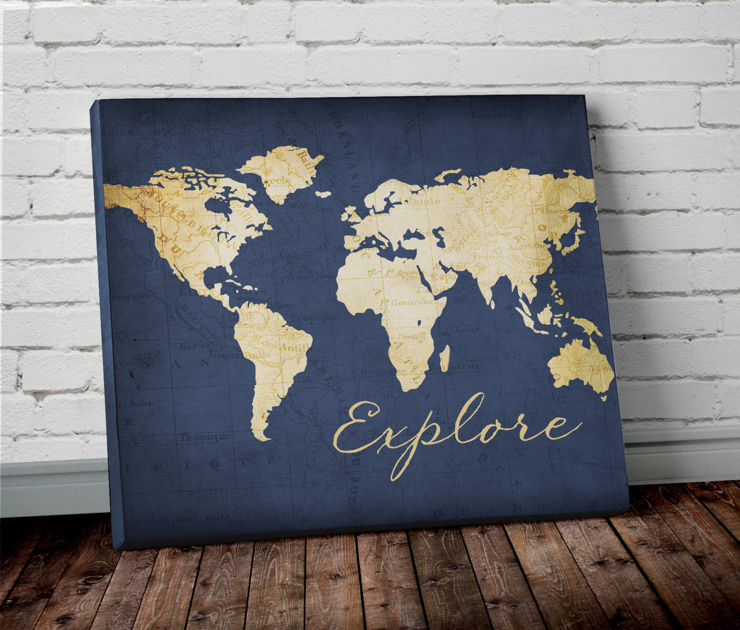 Watercolor world map wall art in blue project cottage world map navy gumiabroncs Gallery