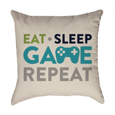 Eat, Sleep, Game, Repeat Pillow Cover