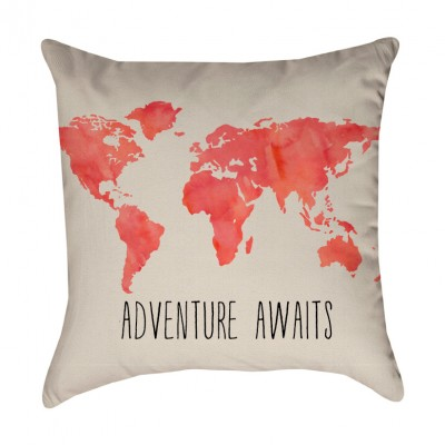 Adventure Awaits World Map Pillow Cover