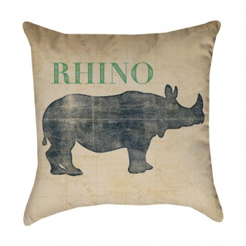 Safari Animal Rhino Pillow Cover