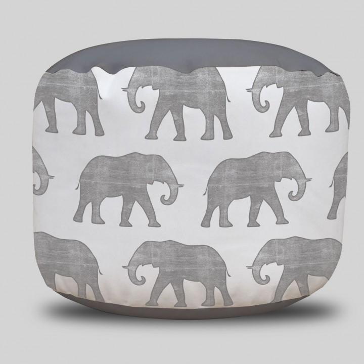 Elephant Round Pouf Ottoman