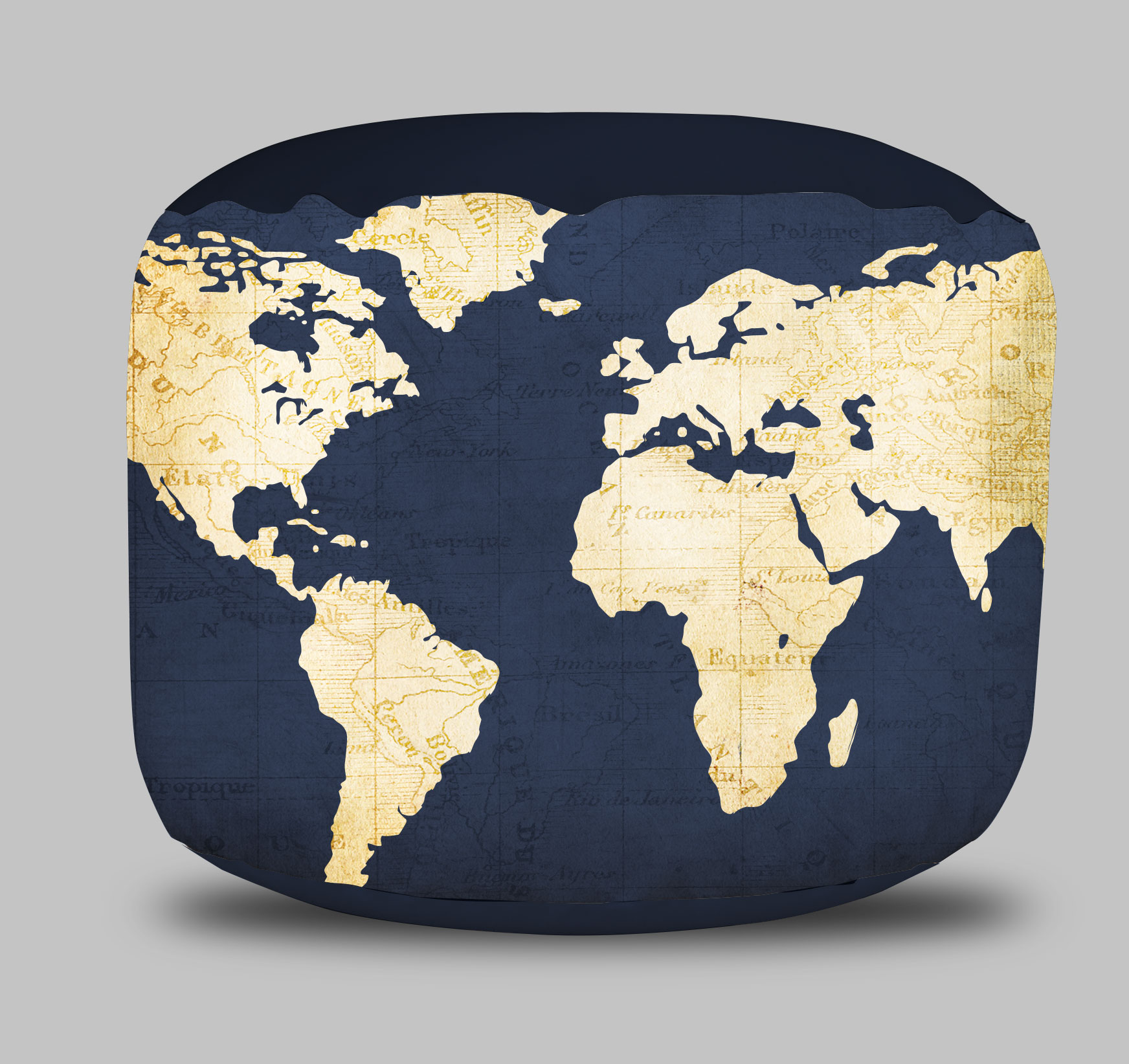 World map round pouf ottoman in navy blue project cottage world map round pouf ottoman gumiabroncs Images