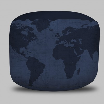 World Map Round Pouf Ottoman