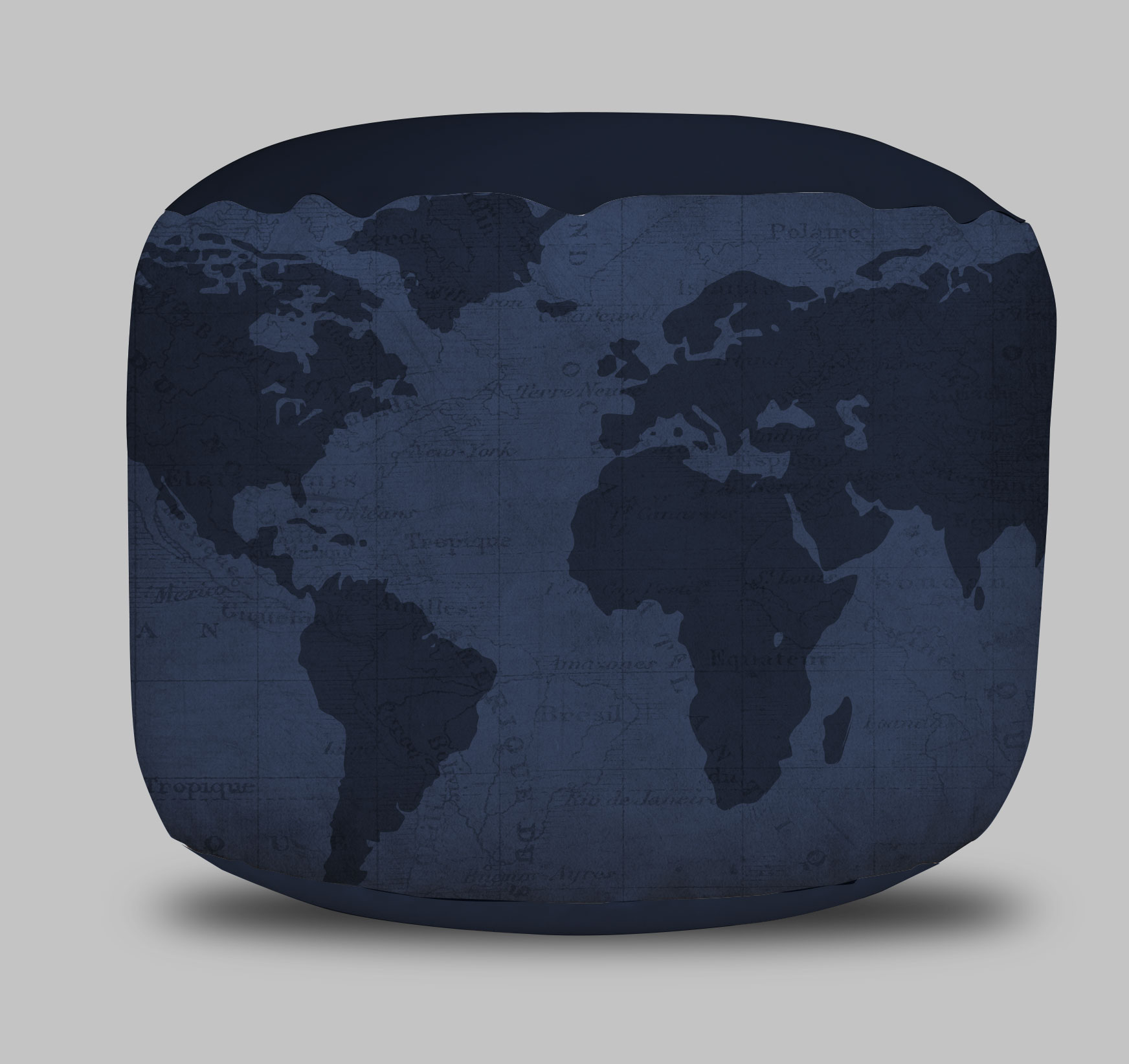 World Map Round Pouf Ottoman in Navy Blue- Project Cottage