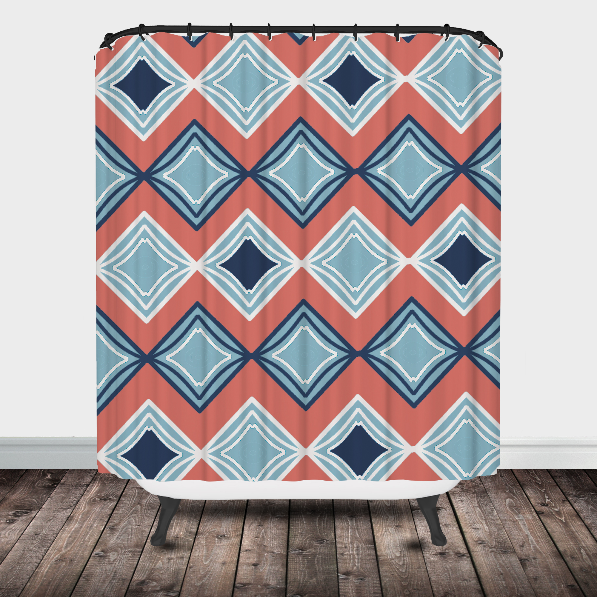 Coral and mint shower curtain - Diamond Shower Curtain