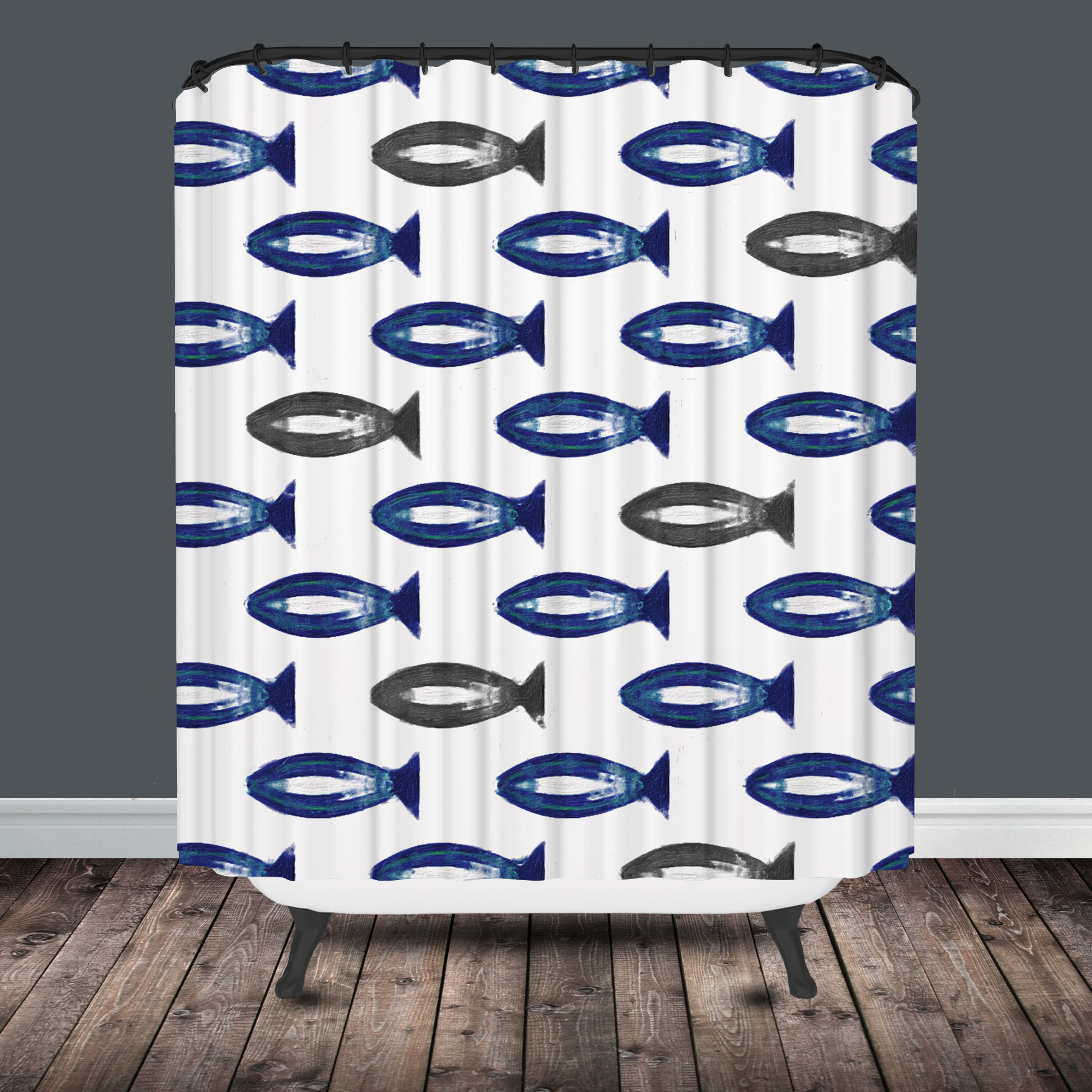 Style selections eva peva print multi fish shower curtain at lowes com - Fish Shower Curtain