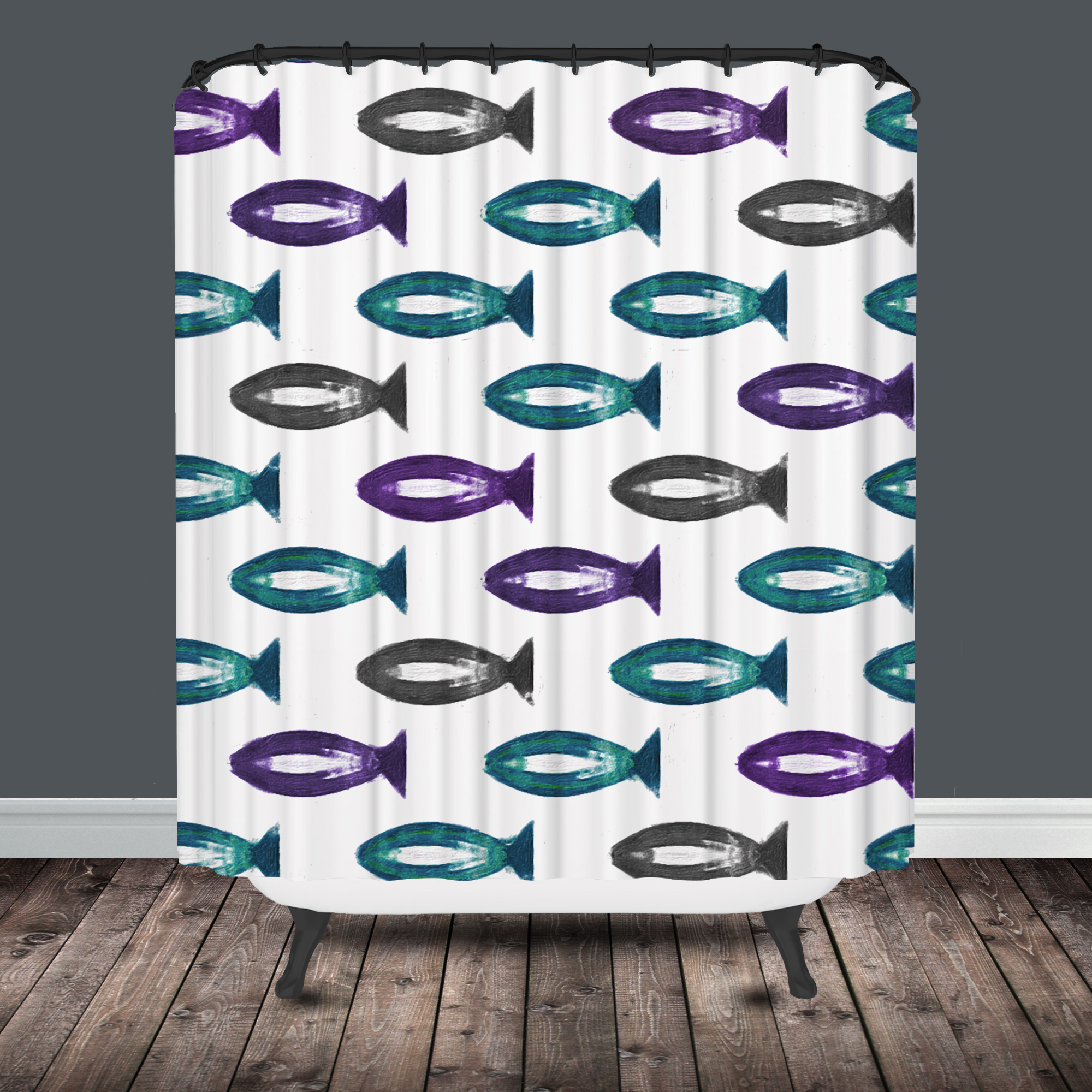 Fish shower curtains for kids - Gray Teal And Purple Watercolor Fish Shower Curtain