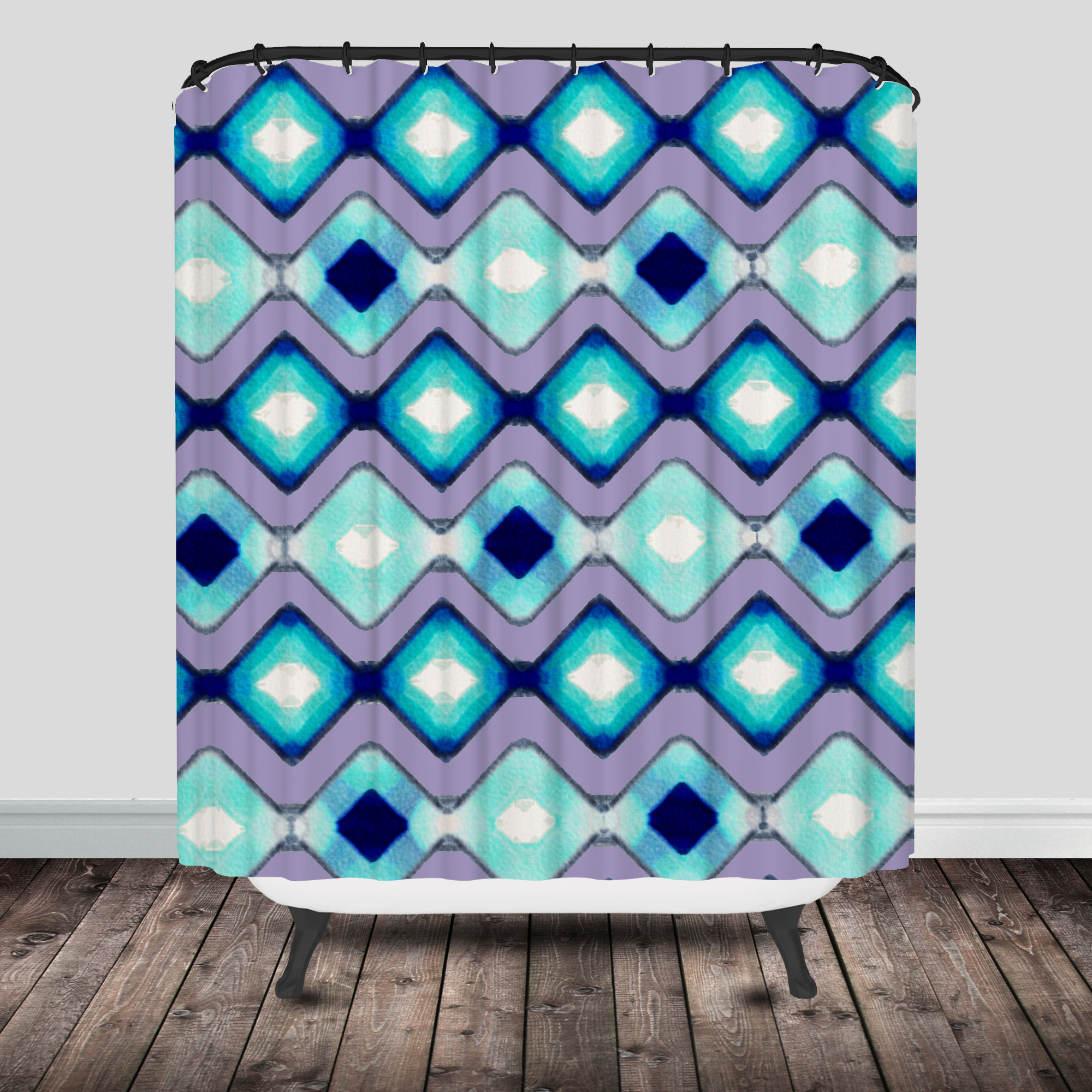 purple and teal shower curtain. fish shower curtain watercolor  Fish Shower Curtain