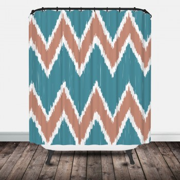chevron_ikat_shower_coral_mint