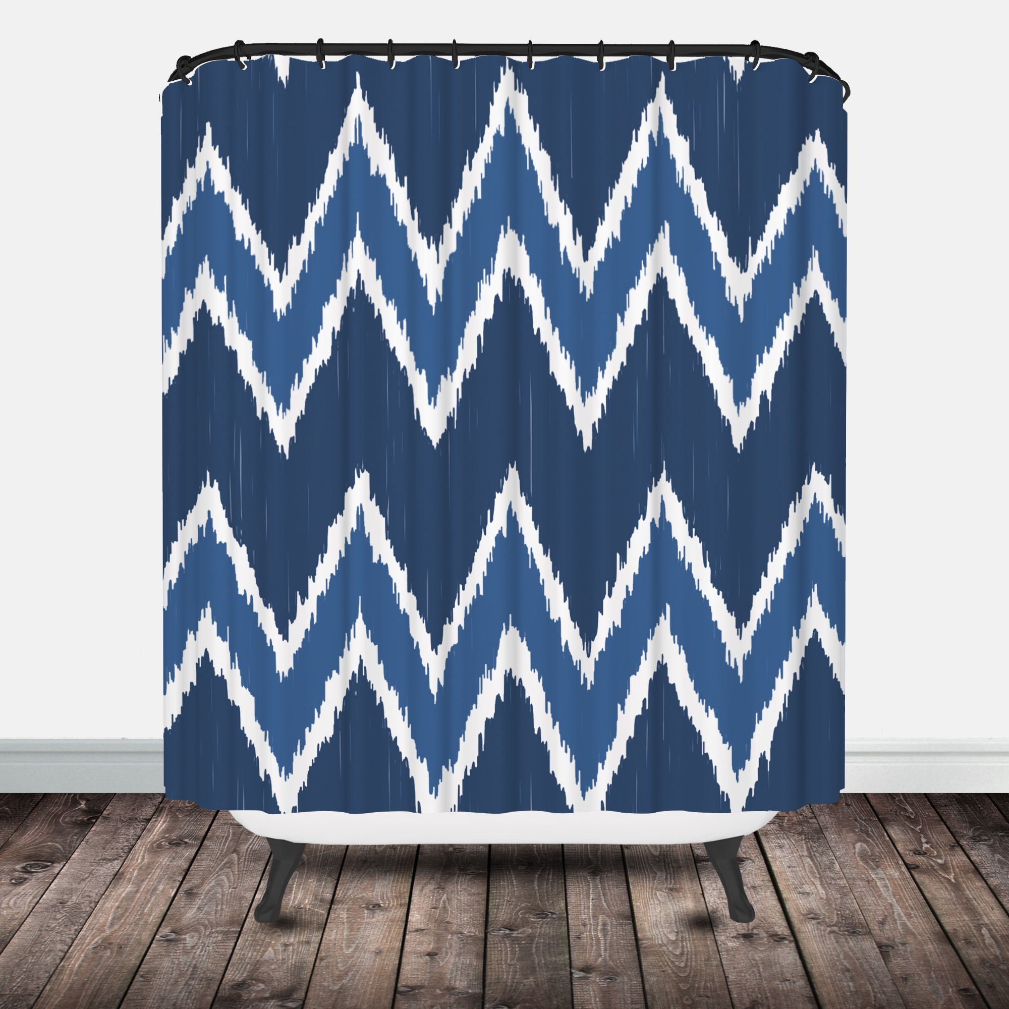 Navy ikat curtains - Chevron Ikat Shower Curtain