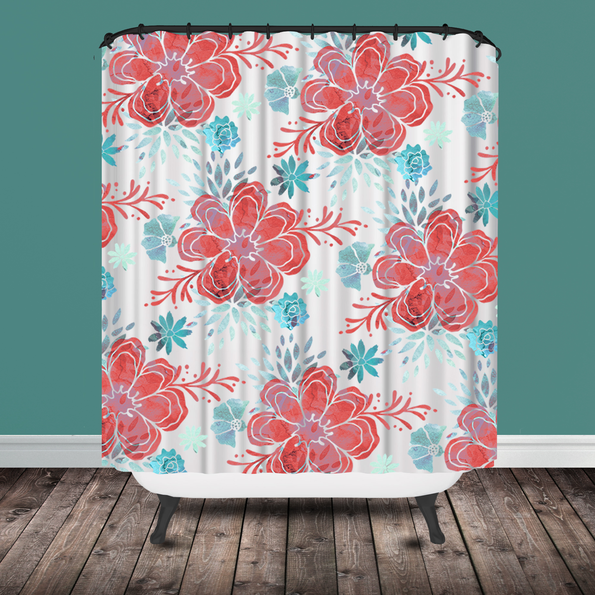 Turquoise And Coral Shower Curtain. chintz shower curtain modern  Project Cottage