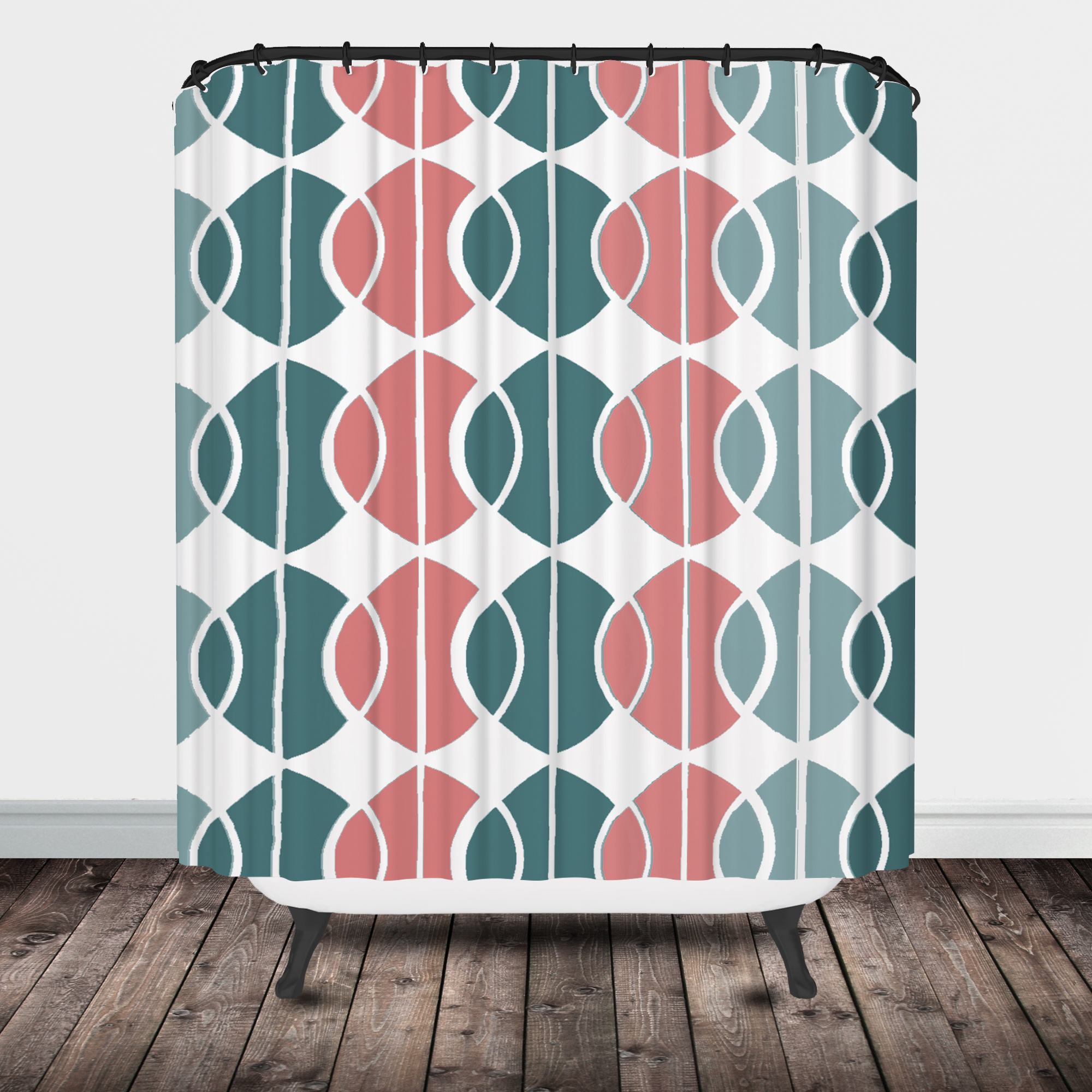 Turquoise And Coral Shower Curtain. mod circles shower curtain Shower Curtain