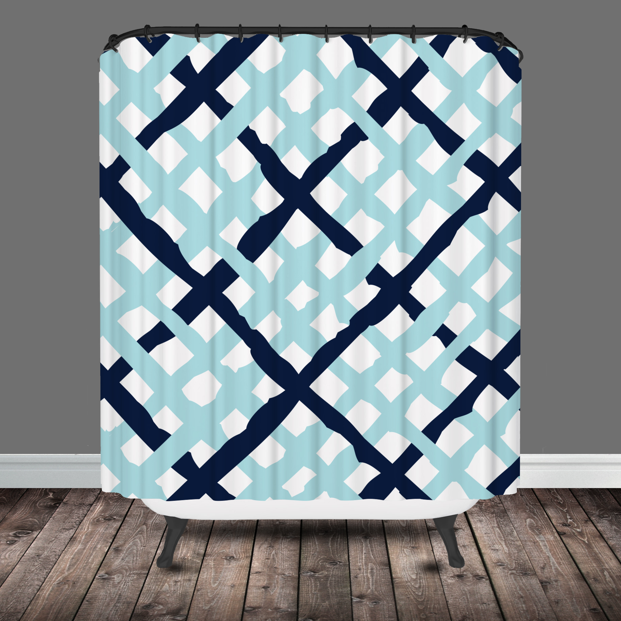 Blue ikat shower curtain -  Curtain Lattice Shower Curtain