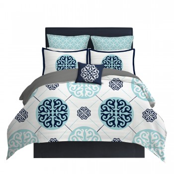 Light Blue and Navy Medallion Duvet Cover
