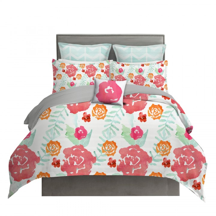 Watercolor Floral Chintz Duvet Cover