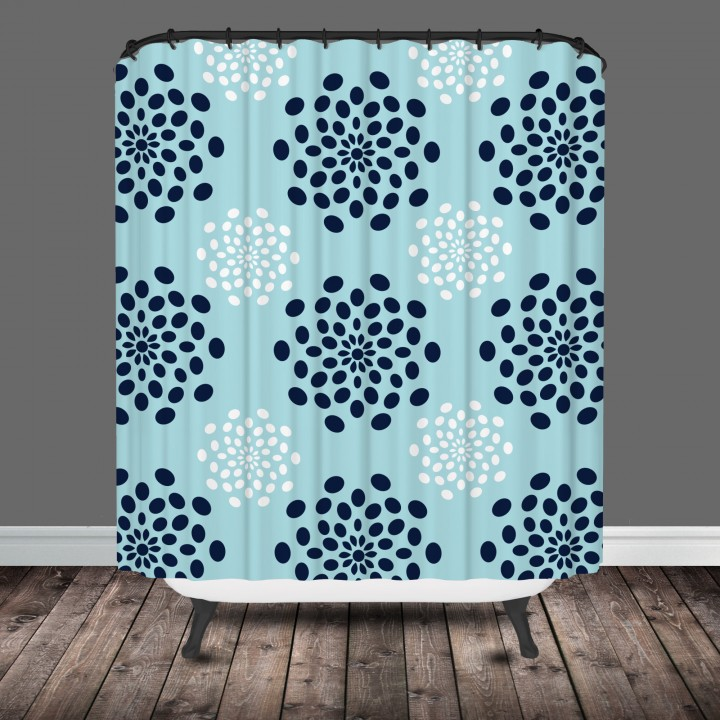 mod flower shower curtain