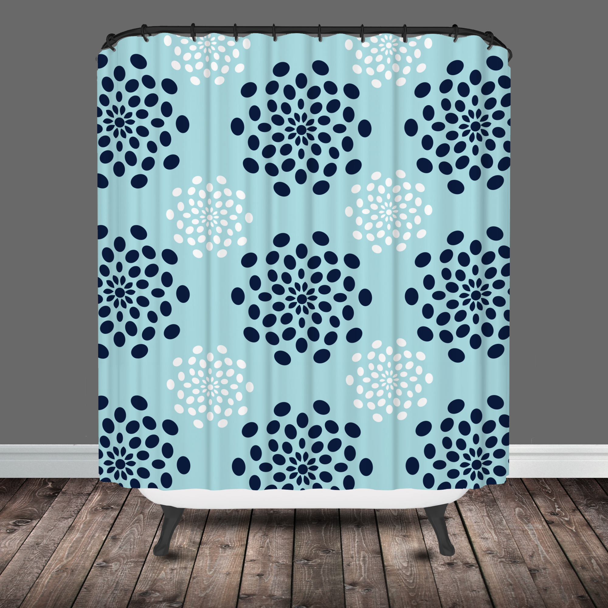 blue and gray shower curtain.  mod flower shower curtain Tribal Shower Curtain