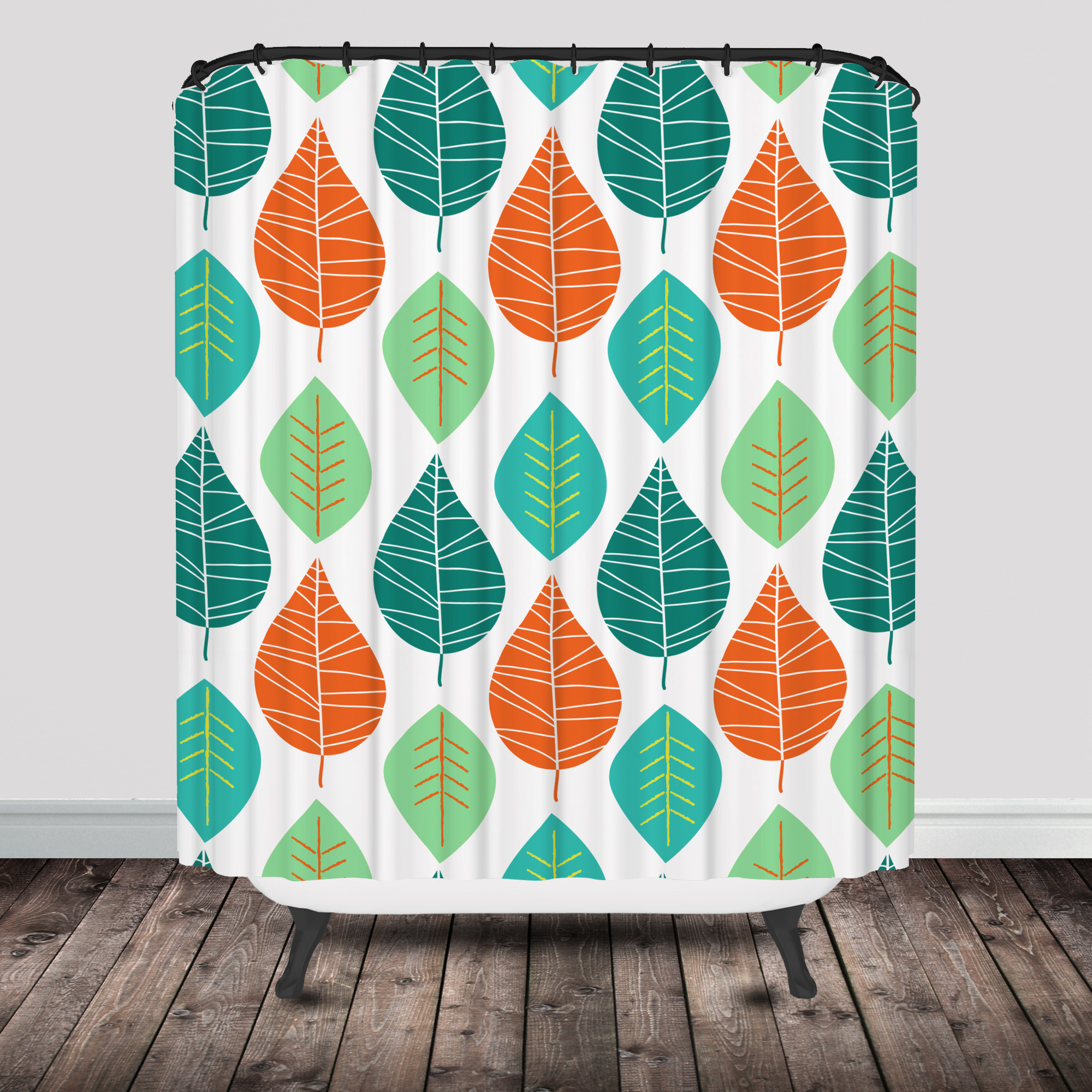Coral and mint shower curtain -  Leaf Shower Curtain