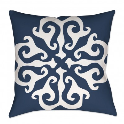 Navy Blue Medallion Throw Pillow