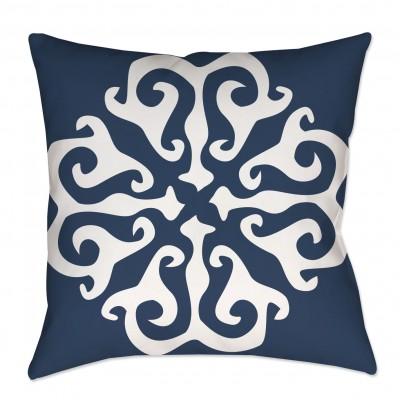 Navy Blue Medallion Throw Pillow