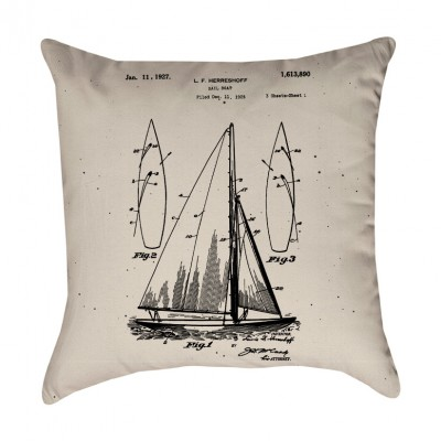 Sailboat Patent Pillow Cover